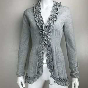 Anthropologie Guinevere Curly Top Cardigan Ruffle